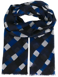 Giorgio Armani Lattice Print Scarf Blue