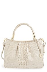 Brahmin 'Ruby' Croc Embossed Leather Satchel Beige Linen