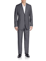Saks Fifth Avenue Slim Fit Wool Checkered Two Button Suit Medium Grey