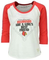 Retro Brand Women's Louisville Cardinals Three Quarter Sleeve Softball T Shirt White Red