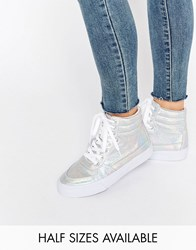 Asos Duke Lace Up High Top Trainers Silver