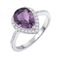 H. Azeem Pear Drop Amethyst Ring Pink Purple Silver
