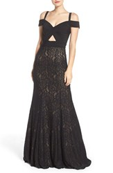 La Femme Women's Jersey And Lace Gown