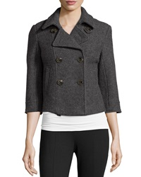 Raison D'etre 3 4 Sleeve Wool Cropped Coat Charcoal