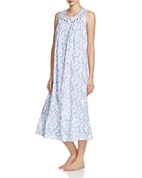 Eileen West Sleeveless Ballet Nightgown White Ground With Paisley