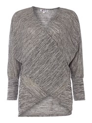 Wal G Long Sleeved Cross Over Front Top Knit Grey