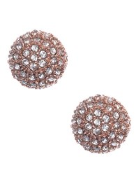 Anne Klein Rose Goldtone And Crystal Ball Stud Earrings Pink