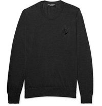 Dolce And Gabbana Embellished Cashmere Sweater Charcoal