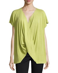 Josie Draped Short Sleeve Ribbed Sweater Key Lime
