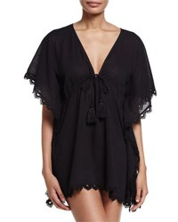 Seafolly Crochet Trim Caftan Coverup Black