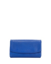 Lauren Merkin June Snake Embossed Leather Flap Top Clutch Bag Electric Blue