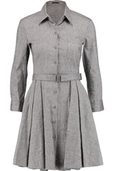 Theory Jalyis Belted Linen Blend Dress Gray