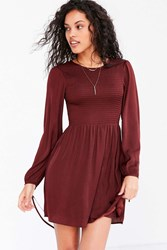 Kimchi And Blue Melissa Silky Smocked Fit Flare Mini Dress Maroon