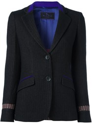 Etro Contrast Details Single Breasted Blazer Black