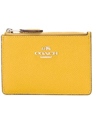 Coach Zip Up Wallet Yellow Orange