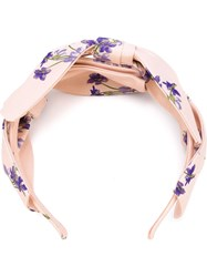 Red Valentino Floral Bow Hairband Nude And Neutrals