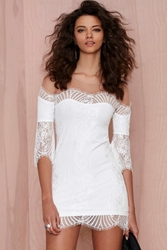 Nasty Gal For Love And Lemons Belle Lace Mini Dress White