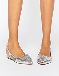 London Rebel Slingback Point Flat Shoes Silver