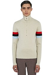 J.W.Anderson Zipped Roll Neck Striped Sleeve Sweater Beige