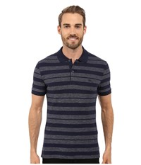 Lacoste Heather Piqu Striped Casual Polo Navy Blue Twilight Blue Mouline Men's Clothing