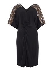 Biba Lace Panel Knot Front Jersey Dress Black
