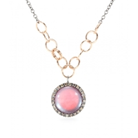 Roberto Marroni 18Kt Oxidized Gold Chain Link Necklace With Mother Of Pearl Pendant And White Diamonds Gunmetal