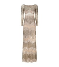 Patricia Bonaldi Sequin Band Beaded Gown Female Gold