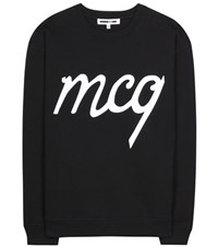 Mcq By Alexander Mcqueen Printed Cotton Sweater Black