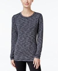 Ideology Space Dyed Brush Lined Fleece Base Layer Top Only At Macy's Charcaol Spacedye