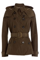 Burberry Brit Waterproof Trench Jacket With Hood Green