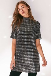 Oh My Love Sparkle Stripe Mock Neck T Shirt Dress Silver