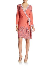 Bcbgmaxazria Adele Floral Print Wrap Dress Light Coral
