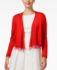 Tommy Hilfiger Lace Trim Shrug Cardigan Red