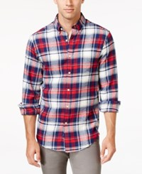 John Ashford Men's Big And Tall Long Sleeve Plaid Shirt Only At Macy's Ruby Red