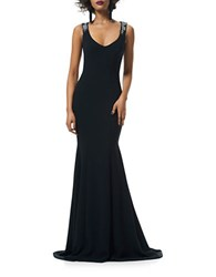 Theia Sleeveless Crepe Mermaid Gown Black