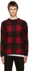 Valentino Black And Red Mohair Check Sweater