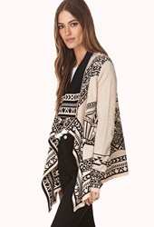 Forever 21 Explorer Draped Front Cardigan Taupe Black