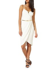 Miss Selfridge Wrap Pencil Dress Cream