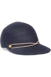 Eugenia Kim Joey Faux Leather Trimmed Woven Hemp Cap