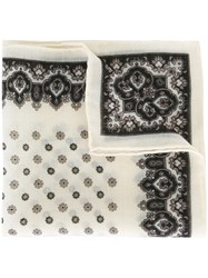 Canali Floral Pocket Handkerchief White