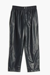 The Row Arez Leather Trousers Navy