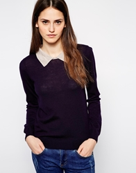 Sessun Tullio Knitted Jumper With Contrast Collar Bleuemiliennnavy