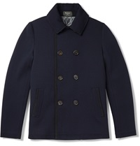 Berluti Slim Fit Leather Trimmed Wool Peacoat Blue