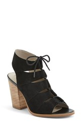 Women's Hinge 'Drea' Peep Toe Leather Sandal Black