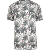 Only And Sons River Island Mens White Palm Frond Fitted T Shirt