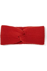 Rag And Bone Alexis Textured Knit Cashmere Headband Tomato Red