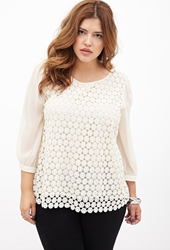 Forever 21 Crocheted Chiffon Sleeve Top Cream