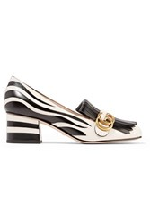 Gucci Two Tone Fringed Leather Pumps Zebra Print