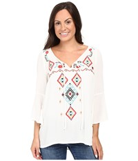 Roper 0445 Crepe Peasant Top White Women's Clothing