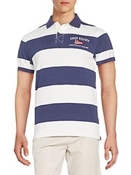 Gant Regular Fit Wide Striped Cotton Polo Shirt Blue